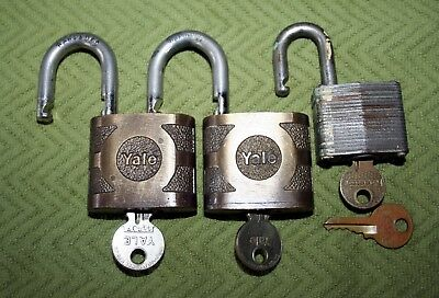 Vintage Brass Yale Lock & Key Lot of (2) + Bonus Masterlock