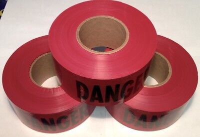 """3-Pack Red Danger Barricade Barrier Safety Tape 3"""" x 1000' Made In  USA NEW 7C4"""