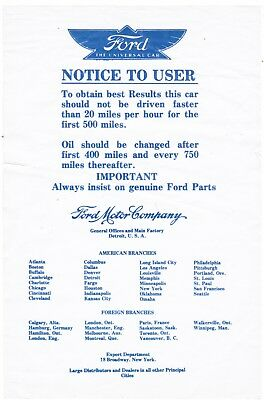 "Vintage Ford Car ""Notice to User"" Papers For New Car!  RARE"