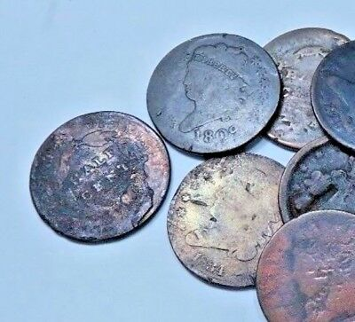 (1) Random Half Cent // Draped-Classic-Braided // Low Grade // 1 Coin
