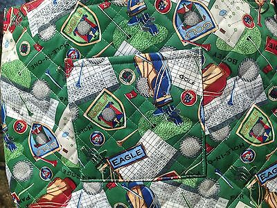 Women's Golf TOTE BAG, QUILTED WITH GOLF THEME PRINT ON BOTH SIDES  Fashionable