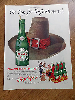 1951 Canada Dry Ginger Ale Soda Pop Ad Pilgrims Thanksgiving Hat Theme