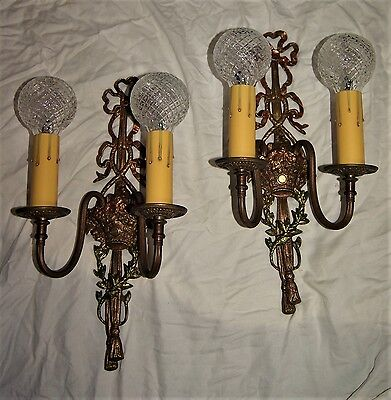 2 VTG FRENCH BRASS VICTORIAN CRYSTAL SCONCES CHANDELIER WALL FIXTURE 1930's