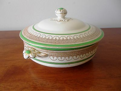 Burleigh Ware Green With Gold Trim & Cream Lidded Tureen Burgess & Leigh England