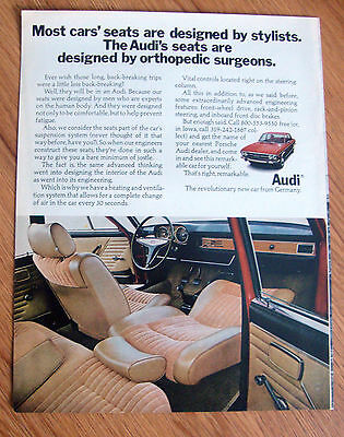 1971 Audi Ad  The Audi's Seats are designed by Orthopedic Surgeons