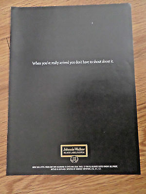 1970 Johnnie Walker Black Label Scotch Whiskey Ad You Don't Have to Shout about