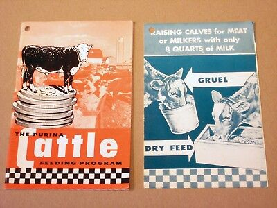 "• LOT of 2 - Vintage 1953 1958 • PURINA ""CATTLE FEEDING PROGRAM"" Brochures •"