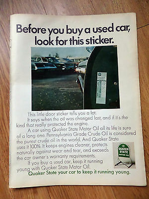 1968 Quaker State Oil Ad Before You Buy a Used Car Look for this Sticker