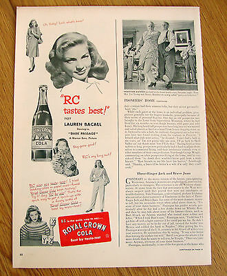 1947 RC Royal Crown Cola Ad Movie Hollywood Star Lauren Bacall