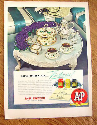 1949 A & P Coffee Ad  Low-Down on Freshness !