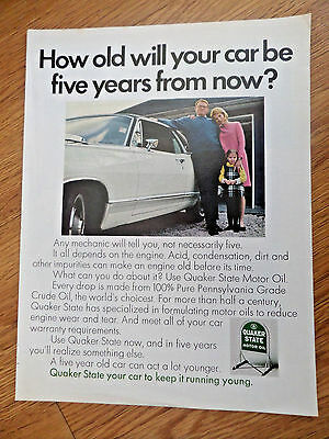 1968 Quaker State Oil Ad How Old will your car be 5 Years from Now?