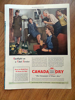 1945 Canada Dry Ginger Ale Ad Registered Nurse Army of the United States