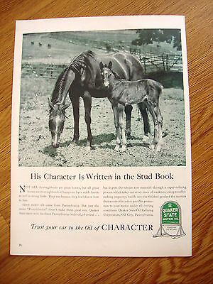 1940 Quaker State Motor Oil Ad  Thoroughbred Horses