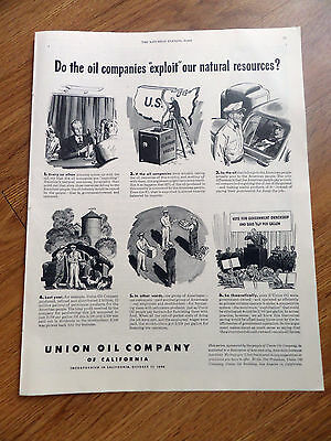 1948 Union Oil California Ad Do the Oil Companies EXPLOIT our Natural Resources?