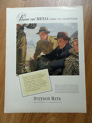 1937  Stetson Hats Ad Fallow the METAL urge to Smartness
