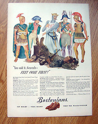 1944 Bostonians Shoes Ad  WW II Theme   Feet Come First
