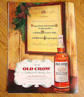 1955 Old Crow Kentucky Whiskey Ad Traditional at Holiday Time Sampler