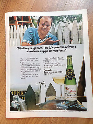 1971 Champale Champagne Ad Classes up Painting a Fence
