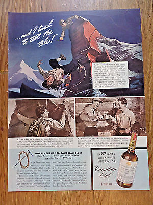 1940 Canadian Club Whiskey Ad Andes Mountain Climbing