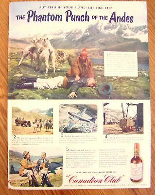 1944 Canadian Club Whiskey Ad Andes Camel Cigarette Ad