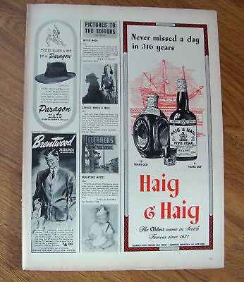 1944 Haig & Haig Whiskey Ad Never Missed a Day 316 yrs