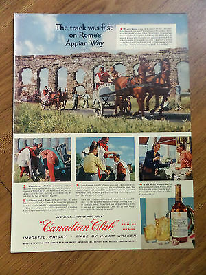 1955 Canadian Club Whiskey Ad Chariots Rome's Appian 1955 Winston Cigarette Ad