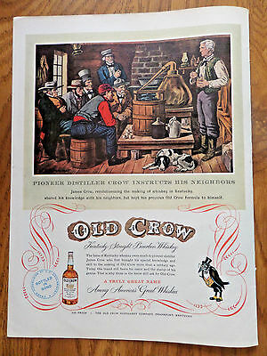 1952 Old Crow Whiskey Ad Instructs His Neighbors