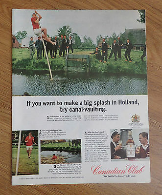 1966 Canadian Club Whiskey Ad Holland Try Canal-Vaulting