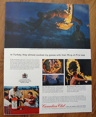 1963 Canadian Club Whiskey Ad  Turkey Ring of Fire leap