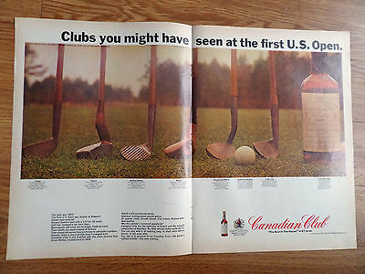 1966 Canadian Club Whiskey Ad Golf Clubs 1st US Open Played at Newport 1895