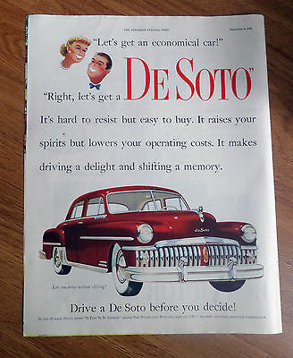 1950 DeSoto Custom Sedan Ad   Lets you drive without Shifting!
