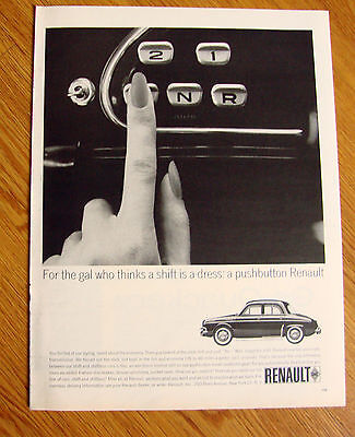 1963 Renault Dauphine Ad For the Gal Pushbutton