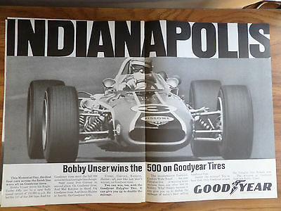 1968 Goodyear Tire Ad Bobby Unser Indianapolis 500 Winner