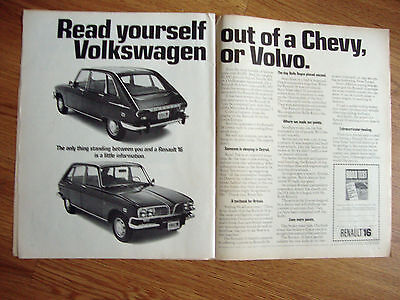 1970 Renault 16 Ad Read yourself out of a Chevy VW or Volvo