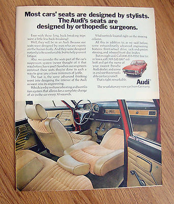 1970 Audi Ad  Seats are Designed by Orthopedic Surgeons