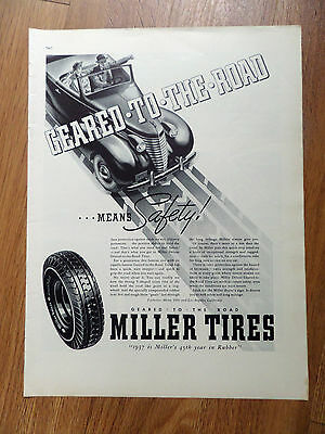 1937 Miller Tires Ad Chevy Buick Olds Plymouth DeSoto