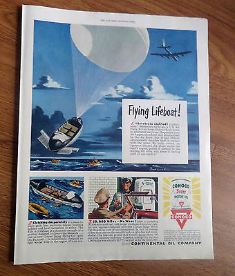 1950 Conoco Continental Oil Company Ad Flying Lifeboat Air Force A-3  Lifeboat