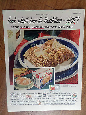 1948  Nabisco Shredded Wheat Cereal Ad Look What's here for Breakfast Hot !
