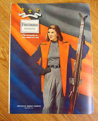 1948 Forstmann 100% Virgin Wool Fashion Ad  Skiing Theme