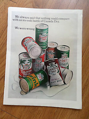 1965 Canada Dry Soda Ad Shows 9 Cans of Soda