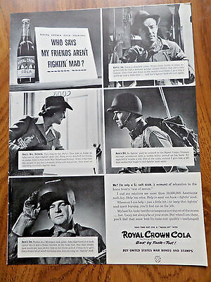 1942 RC Royal Crown Cola Ad Friends Fightin' Mad