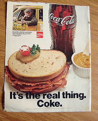 1970 Coke Coca-Cola Ad Real Life Calls for Real Taste Reuben