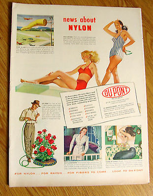 1948 DuPont Nylon Ad  Swimsuits