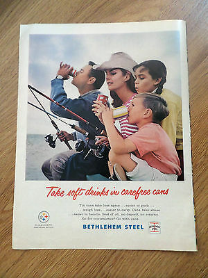 1965 Bethlehem Can Ad  Soft Drinks Carefree Cans Family Fishing Theme