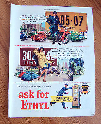 1946 Ethyl Gasoline Ad License Plates Theme