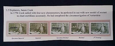 Scarce 1966- Australia 5 X Cook stamps - Pre Decimal & Decimal Inc SPECIMENS MUH