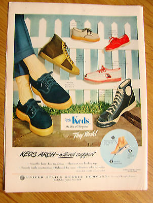 1949 U. S. Keds Shoes Ad the Shoe of Champions