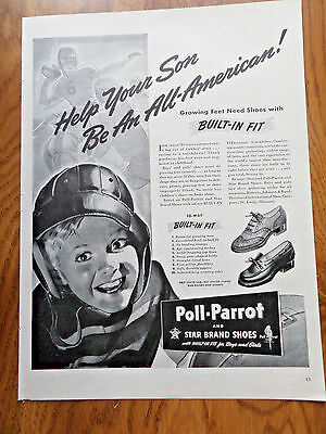 1942 Poll-Parrot Shoes Ad Football Theme