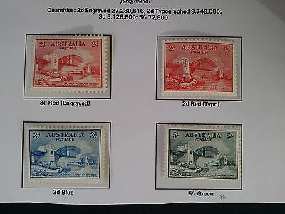 Rare 1932- Australia Set of Sydney Harbour Bridge stamps Mint/MUH