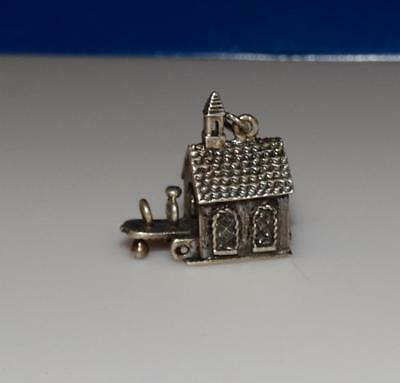 Vintage Church opens to wedding rings Danecraft 3D Sterling Silver Charm #21L
